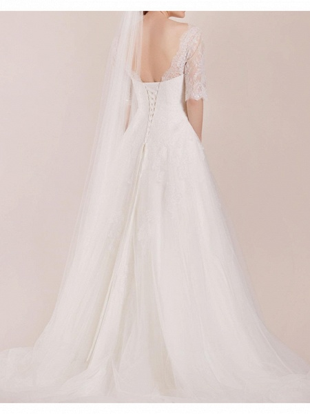 A-Line Wedding Dresses Sweetheart Neckline Sweep \ Brush Train Polyester Half Sleeve Country Plus Size Illusion Sleeve_3