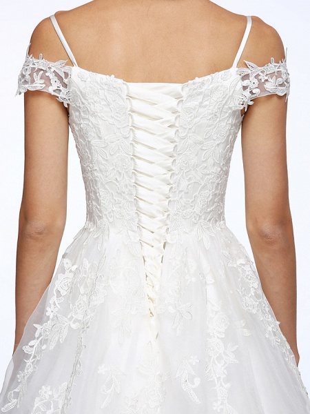 Ball Gown Wedding Dresses Off Shoulder Court Train Organza Beaded Lace Short Sleeve_10