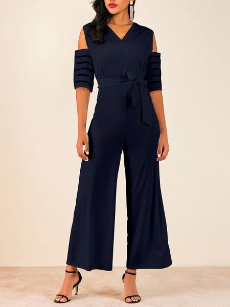 Women's V Neck Blue White Black Slim Jumpsuit_7