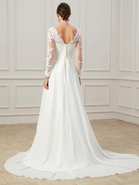 Sheath \ Column Wedding Dresses V Neck Sweep \ Brush Train Lace Tulle Long Sleeve Formal Plus Size Illusion Sleeve_6