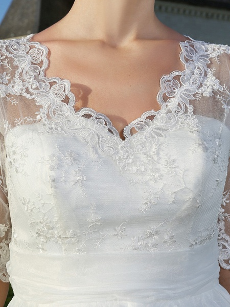 A-Line Wedding Dresses V Neck Ankle Length Organza Sheer Lace Half Sleeve Country Casual Vintage See-Through Illusion Sleeve_7