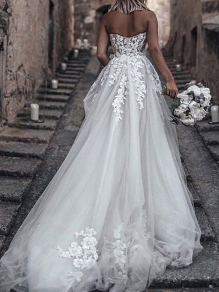 A-Line Wedding Dresses Strapless Sweep \ Brush Train Lace Tulle Sleeveless Sexy_2