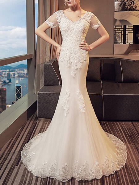 Mermaid \ Trumpet Wedding Dresses V Neck Sweep \ Brush Train Lace Tulle Short Sleeve Beach Illusion Detail Plus Size_4