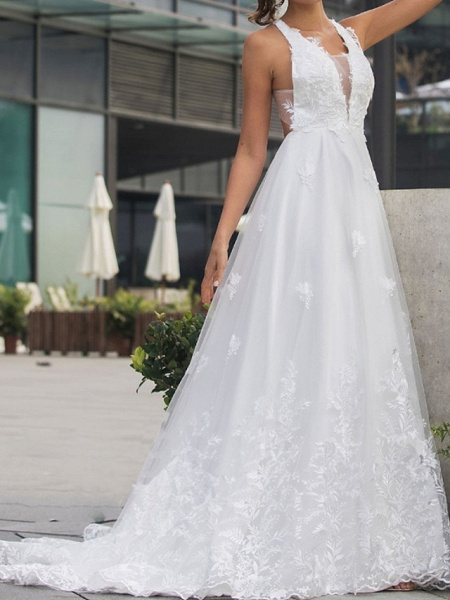 A-Line Wedding Dresses V Neck Sweep \ Brush Train Lace Tulle Sleeveless Beach Sexy Backless_4