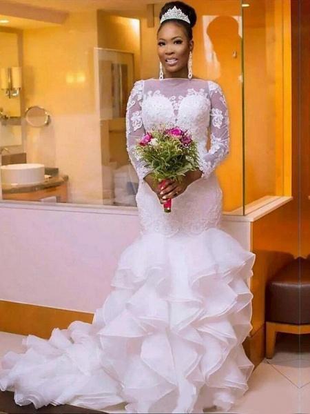 Mermaid \ Trumpet Wedding Dresses Jewel Neck Court Train Lace Organza Tulle Long Sleeve Romantic Plus Size Illusion Sleeve_4