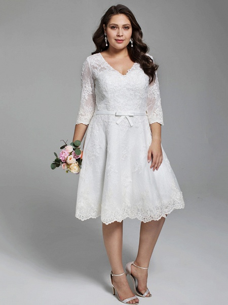A-Line Wedding Dresses V Neck Knee Length All Over Lace 3\4 Length Sleeve Casual Vintage See-Through Illusion Detail Backless_4