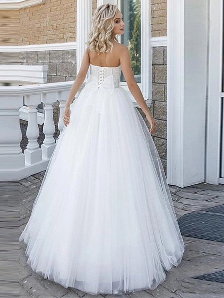 A-Line Wedding Dresses Strapless Floor Length Lace Tulle Strapless Sexy Plus Size_4