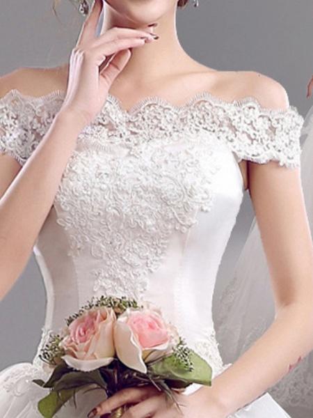 A-Line Wedding Dresses Off Shoulder Floor Length Tulle Short Sleeve Glamorous Illusion Detail_3