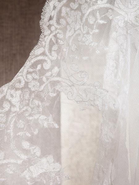 Mermaid \ Trumpet Wedding Dresses Scoop Neck Sweep \ Brush Train Lace Tulle Sleeveless_5