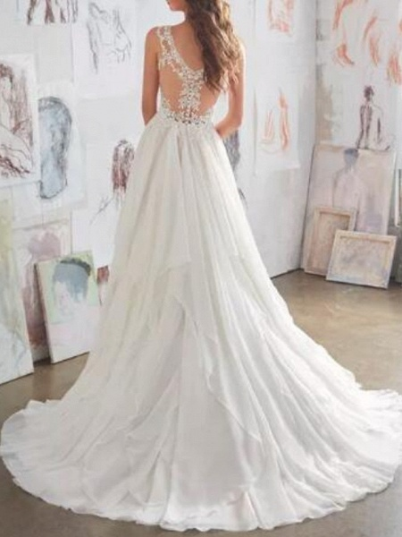 A-Line Wedding Dresses Sweetheart Neckline Sweep \ Brush Train Chiffon Lace Spaghetti Strap Sexy See-Through Illusion Detail Backless_2