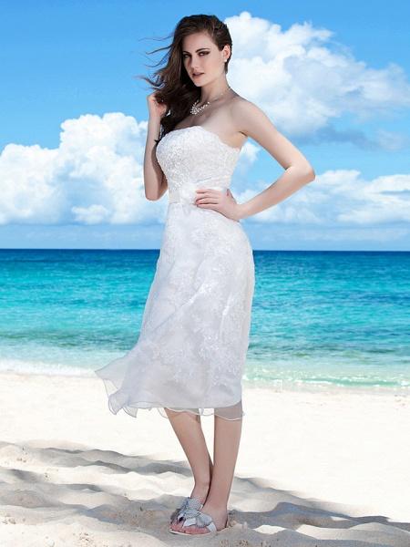 Sheath \ Column Wedding Dresses Strapless Tea Length Organza Sleeveless Little White Dress_3