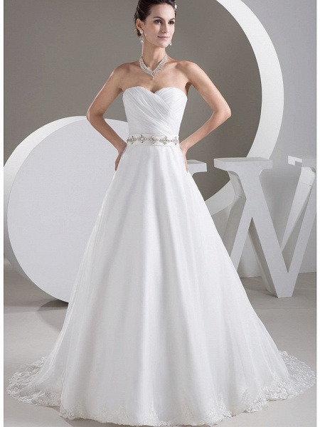 A-Line Sweetheart Neckline Court Train Lace Satin Tulle Strapless Wedding Dresses_1