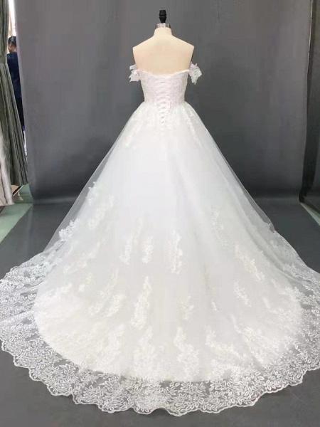 Ball Gown Wedding Dresses Off Shoulder Court Train Lace Short Sleeve Formal Sparkle & Shine_3