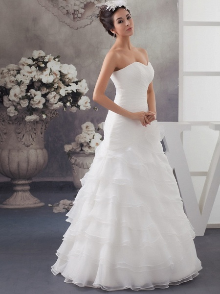 A-Line Sweetheart Neckline Floor Length Organza Satin Strapless Wedding Dresses_2