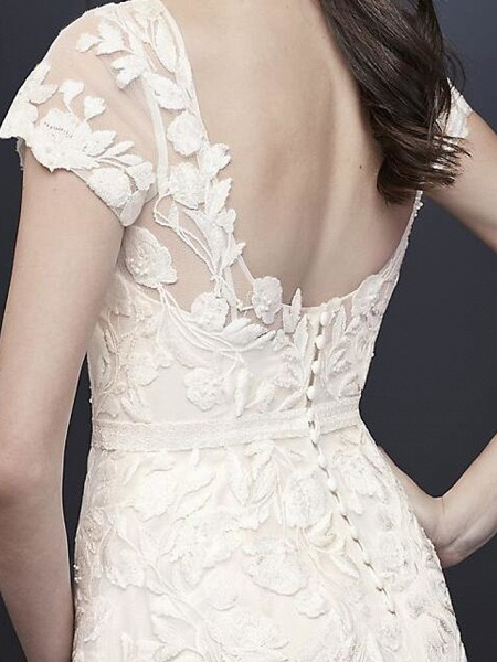 A-Line Wedding Dresses Jewel Neck Floor Length Polyester Short Sleeve Country Plus Size_3