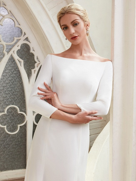 A-Line Wedding Dresses Bateau Neck Chapel Train Satin 3\4 Length Sleeve Elegant_9