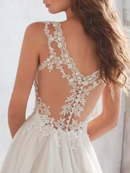 A-Line Wedding Dresses Sweetheart Neckline Sweep \ Brush Train Chiffon Lace Spaghetti Strap Sexy See-Through Illusion Detail Backless_4