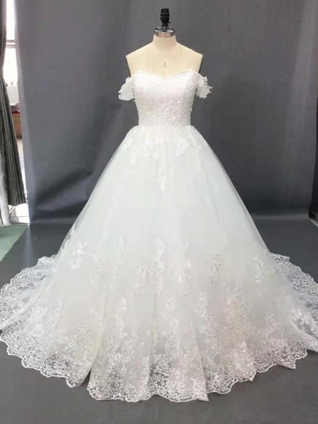 Ball Gown Wedding Dresses Off Shoulder Court Train Lace Short Sleeve Formal Sparkle & Shine_2