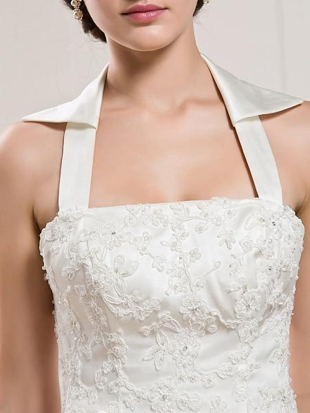 Mermaid \ Trumpet Halter Neck Court Train Satin Sleeveless Wedding Dresses_9