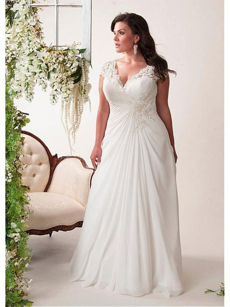 Mermaid \ Trumpet Wedding Dresses V Neck Court Train Chiffon Lace Sleeveless Simple Plus Size_1