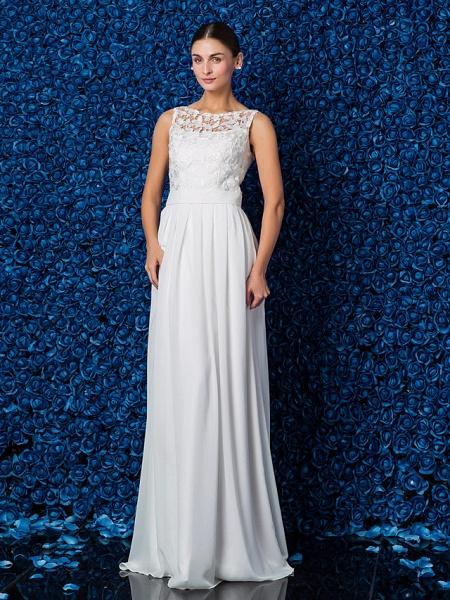 Sheath \ Column Elegant Prom Formal Evening Dress Illusion Neck Sleeveless Floor Length Chiffon Lace_3