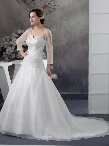 Ball Gown Wedding Dresses V Neck Chapel Train Organza Satin Long Sleeve Illusion Sleeve_2