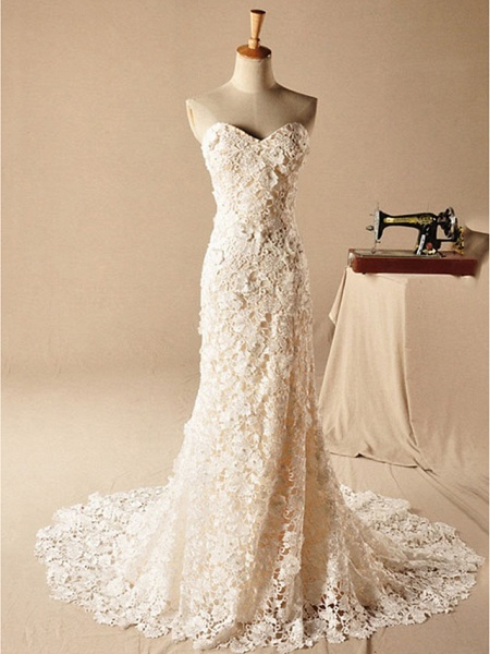 Mermaid \ Trumpet Wedding Dresses Strapless Court Train Lace Sleeveless Formal_1