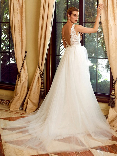 Sheath \ Column V Neck Chapel Train Lace Tulle Regular Straps See-Through Wedding Dresses_2