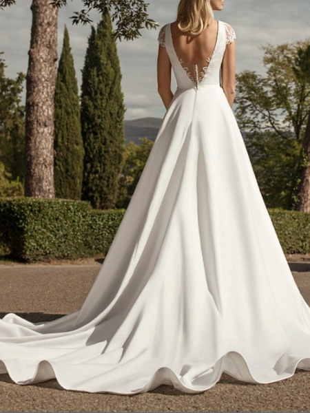 A-Line Wedding Dresses V Neck Sweep \ Brush Train Lace Chiffon Over Satin Cap Sleeve Country Plus Size_2