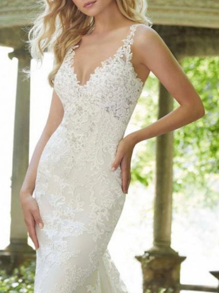 A-Line V Neck Watteau Train Lace Sleeveless Sexy Backless Wedding Dresses_4