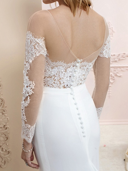 Mermaid \ Trumpet Wedding Dresses Bateau Neck Court Train Chiffon Corded Lace Long Sleeve Romantic Sexy See-Through Backless Illusion Sleeve_7