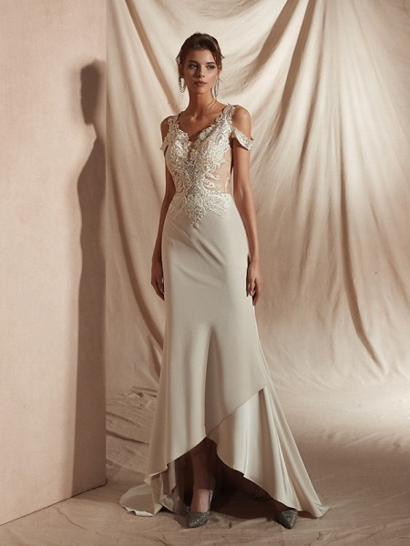 Mermaid \ Trumpet Wedding Dresses V Neck Asymmetrical Matte Satin Short Sleeve Casual Sexy Illusion Detail Modern_2