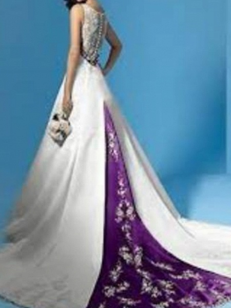 A-Line Plunging Neck Sweep \ Brush Train Polyester Sleeveless Country Plus Size Wedding Dresses_2