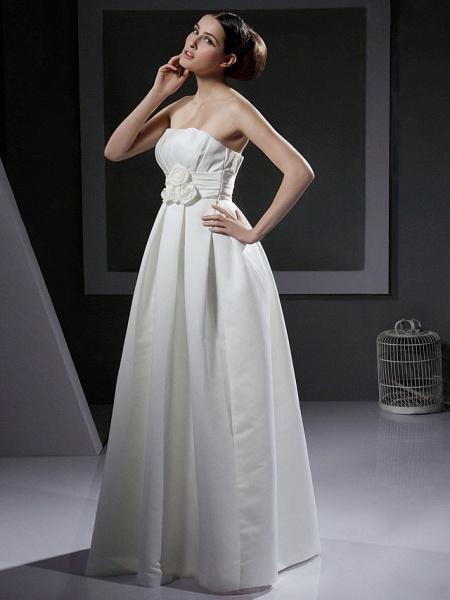Princess A-Line Wedding Dresses Strapless Floor Length Satin Sleeveless_2