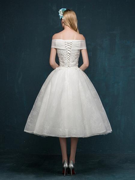 A-Line Wedding Dresses Off Shoulder Tea Length Beaded Lace Short Sleeve Casual Vintage Plus Size Cute_3