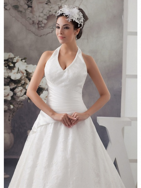 A-Line Halter Neck Court Train Lace Satin Spaghetti Strap Wedding Dresses_4