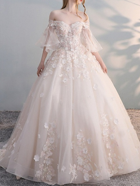 A-Line Wedding Dresses Off Shoulder Court Train Lace Tulle Sleeveless Casual Plus Size_1