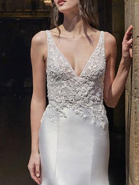 Mermaid \ Trumpet Wedding Dresses V Neck Sweep \ Brush Train Lace Satin Regular Straps Formal Plus Size_2
