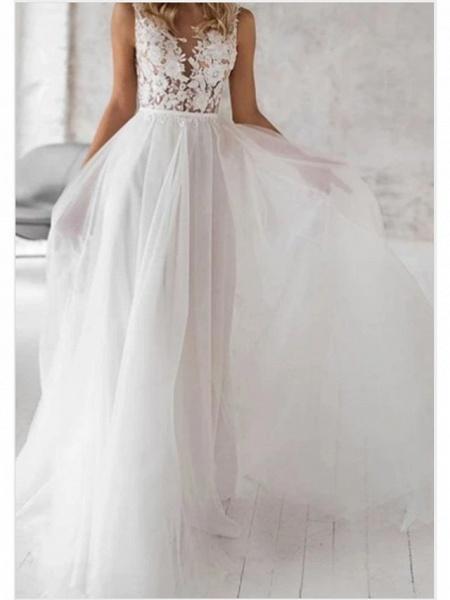 A-Line Wedding Dresses V Neck Floor Length Lace Tulle Regular Straps Boho_1