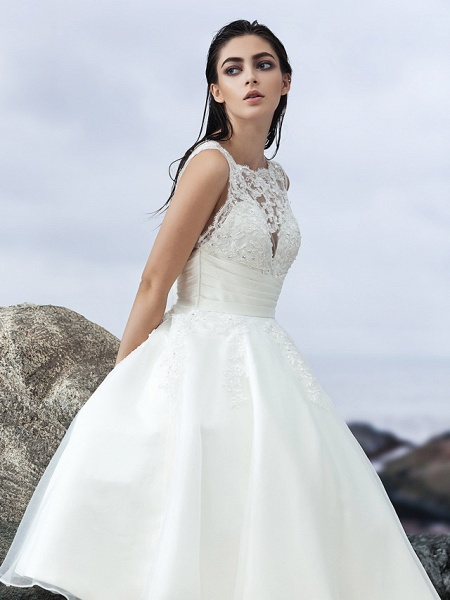 A-Line Wedding Dresses Bateau Neck Knee Length Organza Regular Straps Formal Casual Little White Dress Illusion Detail Backless_8