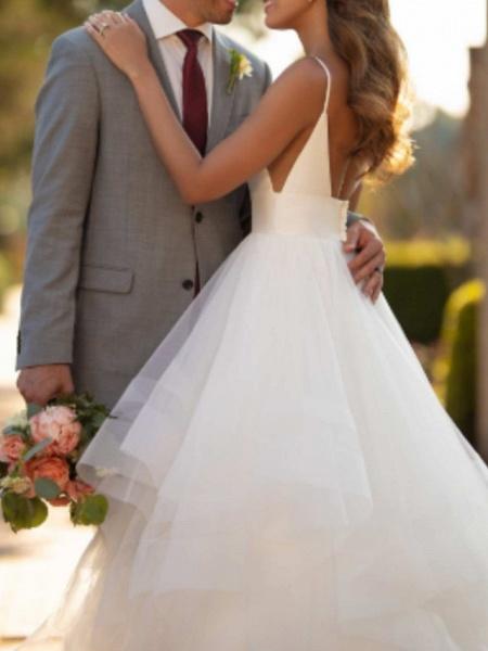 Ball Gown Wedding Dresses V Neck Court Train Tulle Charmeuse Spaghetti Strap Formal Simple Little White Dress_2