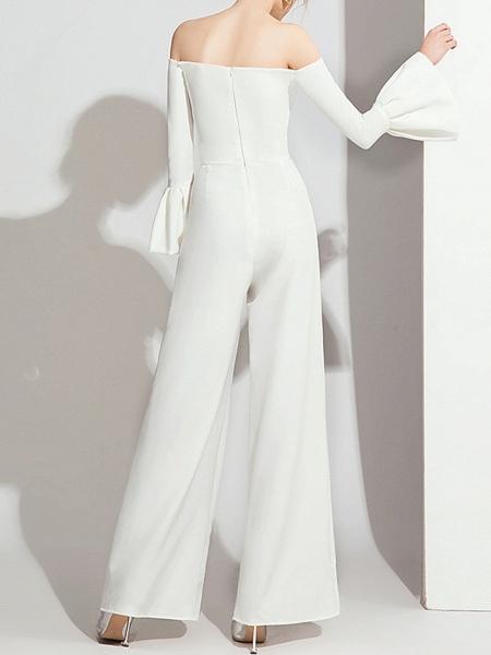 Jumpsuits Wedding Dresses Off Shoulder Floor Length Polyester Long Sleeve Formal Simple_5