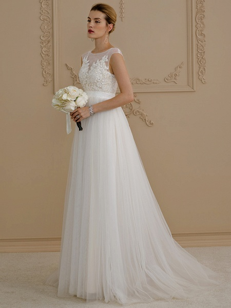 A-Line Wedding Dresses Jewel Neck Sweep \ Brush Train Beaded Lace Cap Sleeve Romantic Plus Size Backless_1