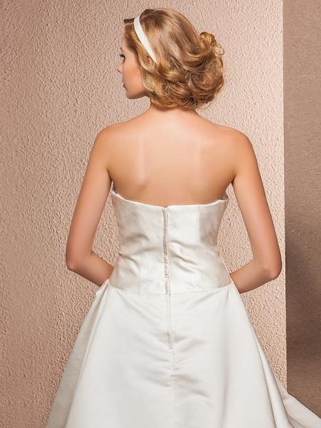 Ball Gown A-Line Wedding Dresses Strapless Knee Length Satin Sleeveless Little White Dress_6