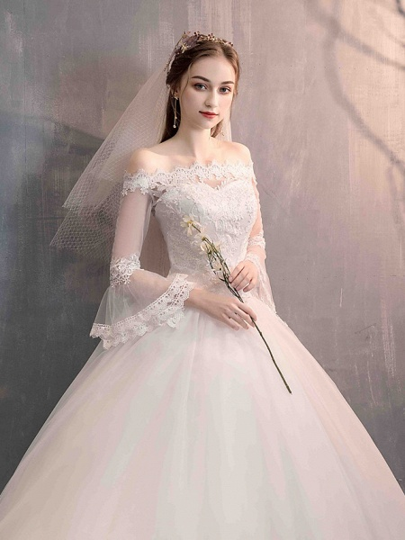 Ball Gown Wedding Dresses Off Shoulder Floor Length Lace Tulle Long Sleeve Romantic Illusion Sleeve_8