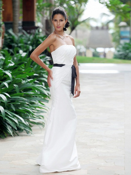 Mermaid \ Trumpet Wedding Dresses Strapless Sweetheart Neckline Floor Length Taffeta Sleeveless Wedding Dress in Color_2