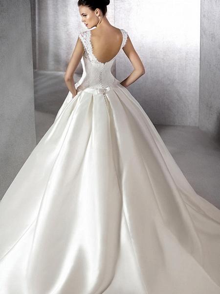 A-Line Jewel Neck Chapel Train Lace Tulle Polyester Cap Sleeve Plus Size Wedding Dresses_2