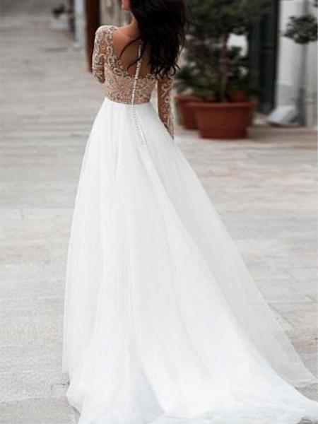 A-Line Wedding Dresses V Neck Floor Length Tulle Long Sleeve Romantic Beach Boho See-Through Illusion Sleeve_2