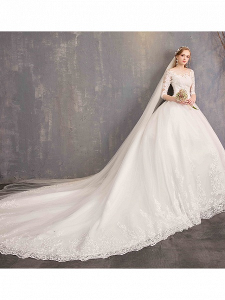 Ball Gown Wedding Dresses Jewel Neck Chapel Train Tulle Lace Over Satin Half Sleeve Illusion Sleeve_5