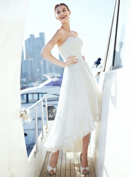 A-Line Wedding Dresses Strapless Asymmetrical Tulle Strapless Casual Beach Little White Dress Backless_1